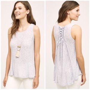 Anthropologie Lace Up Back Swing Tank 8A